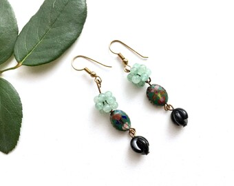 Vintage Handmade Jade Earrings, Cloisonne Earrings, Natural Stone Earrings, Gemstone Earrings, Drop Dangle earrings
