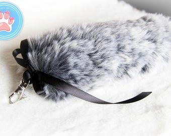 Grey Faux Fur Tail Bag Charm