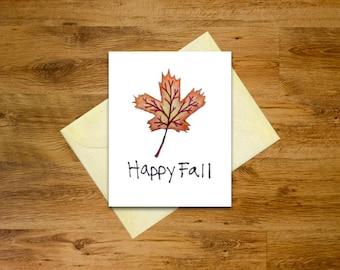 Maple Leaf Happy Fall Card   Printable Autumn Card