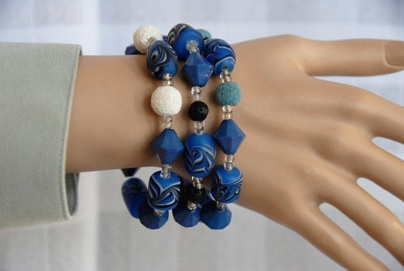 Aromatherapy Diffuser Bracelet. Three Choices of Lava Bead Color. Very Nice Quality Blue, Black & White Decorative Beads.  AB059