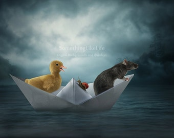TODAY'S SPECIAL Paper Boat Digital Background ~ Boat Digital Background ~ Water Digital Background