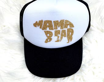 Mama bear hat, Mama Trucker Hat, Glitter Hat, Mom Hat, Black Hat, Black Mom Hat, Mama Life Hat, MOMLIFE hat, Mom trucker hat, Mother Hat