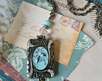 bird locket necklace - shabby chic jewelry - long necklace - robins egg blue - cottage chic - romantic necklace - gift for her