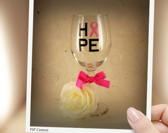 Breast Cancer Awarness HOPE Glass