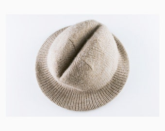 ON SALE! Vintage Wool Trilby Hat, Fedora - Size 7, Taupe, Beige