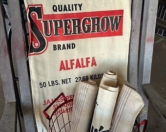 Vintage 50s Reneau's Supergrow Brand seed bag, sack, fabric linen sack, feed bag