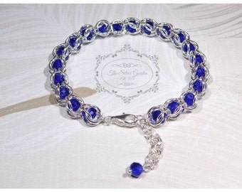 Chain Maille Bracelet, Capture Weave, Blue Crystals, Chain Mail, Chain Maille Jewellery, Mothers Day, Birthday Gift, Beaded Chain Maille