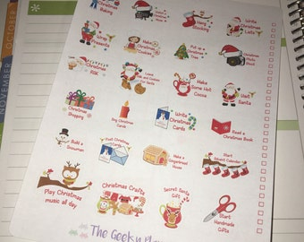 24 christmas xmas bucket list planner stickers , great for most planners . Tick boxes also included erin condren happy planner recollections