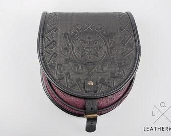 Genuine leather bag, Round crossbody bag, Shoulder leather bag, Purple black bag, Hot tooled leather, Unigue bag for her, Leather purse