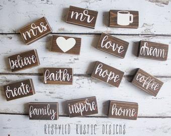 Mini Blocks (2.5x2in), Single Blocks: Dream, Create, Inspire, Coffee, Family, Home, Faith, Hope, Love, Mr, Mrs, Believe, Shelf Mini Blocks