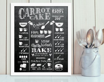 Carrot Cake Chalkboard Recipe kitchen blackboard typography print INSTANT DOWNLOAD