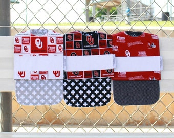Personalized Oklahoma Sooners Burp Cloth and Bib Set-Super Absorbent-Flannel and Terry Cloth-Embroidered