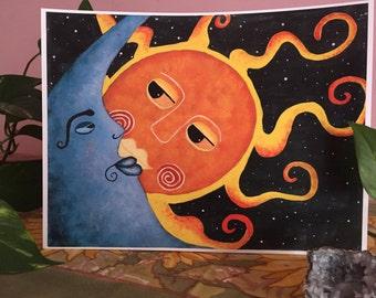 Celestial Sun and Moon Love Print