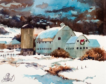 Park City Barn, Watercolor Painting, Watercolor Print, Park City, Utah, Home Art