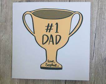 Personalised Father's Day card // Number One // #1 // Trophy // Dad // Daddy // Father // Grandad // Grampa // Birthday Card // For Him