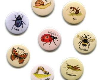 Bug Magnets, Set of Eight, 38mm Round Button Invertebrates, Minibeasts, Insects, Fridge Magnets Bumblebee, Ant, Ladybird, Grasshopper etc