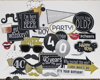 Photo Booth Props, 40TH BIRTHDAY BOY, printed, cut, and ready to ship, birthday party fun