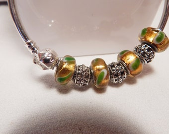 Bangle bracelet, with European style beads and Tibetan silver hollows.