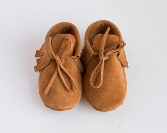 Lovely boho brown suede moccasins Baby/newborn/infant/toddler shoes