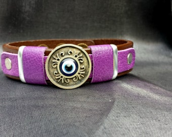 Evil Eye bracelet accented with Purple on Brown Leather