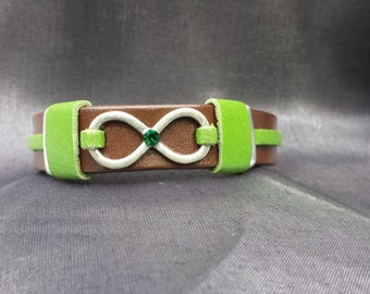 Infinity Leather Bracelet accented with Green on Brown Leather