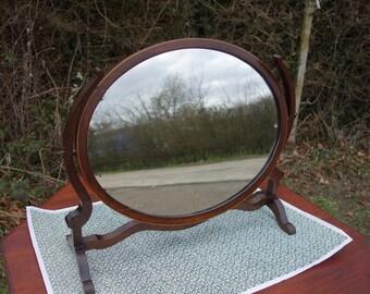 Vintage Oval Mirror, Antique  Victorian Mirror, Oval Victorian Mirror, Dressing Table  Mirror