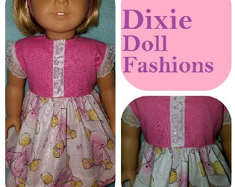 "Dixie-crafted Pink Elephant II Dress to fit 18"" Dolls including those from the American Girl Doll Clothes Company"