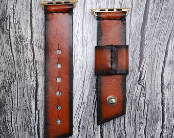 Tan Leather apple watch band 38mm / 42mm // apple watch accessories - leather apple watch strap - iwatch band leather - lugs adapter