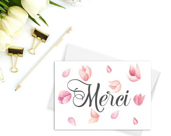 Merci thank you cards, Wedding thank you cards, Thank you cards set, French thank you cards, Merci beaucoup