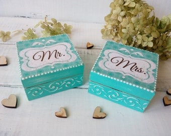 Mr Mrs wedding ring box Set of 2 wedding box Wooden box for ring Personalize wedding box Bearer bridal box Shabby wedding Blue wedding box