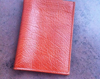 Vintage Leather Wallet - Mens Buxton Bill Fold - Made in Canada - Brownish Orange Leather - Gift for Him
