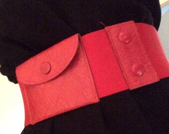 Red Elastic Belt - Leather Pocket - VERMILLION