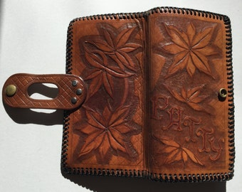 """Leather Wallet Hand tooled """"Patty"""" for checkbook, phone, change, cards and more"""