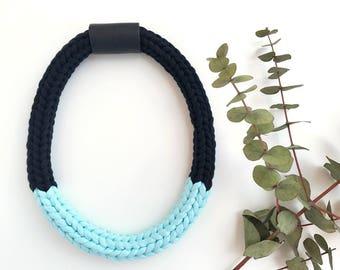Matilda | Black and light blue modern bold necklace