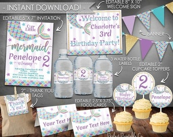 Mermaid Birthday Invitation, Mermaid Party Package, Mermaid Party Kit, Mermaid Party Bundle, Teal Purple Gold, Instant Download, Summer #494