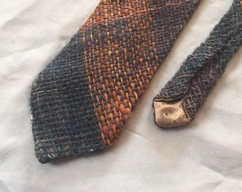 Vintage Amber and Green Wool Necktie Handmade in Uruguay