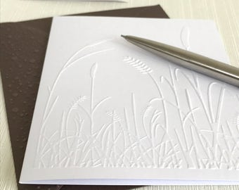 GRASSES 6 - Set of 6 Embossed Cards (No.102) - Pack of 6 Note Cards. Stylish greeting cards with a nature design