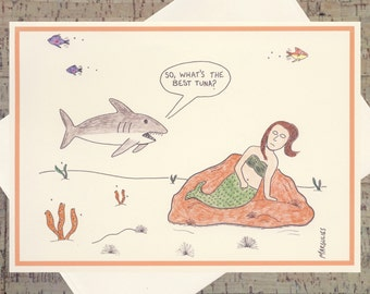 Funny Advice Card, Funny Card, Humor Card, Quirky Card, All Occasion Card, Under The Sea, Cartoon Card, Mermaid Cards