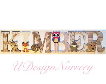 Woodland Themed Wooden Wall Letters - Nursery Decor - Forest Animal - Woodland Decor - Baby Shower Decor - Wooden Letters - Woodland Nursery