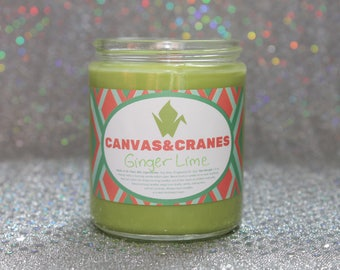 Ginger Lime - 8 oz Green Wood Wick Soy Wax Candle