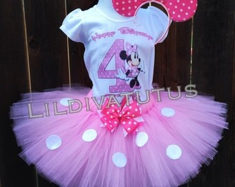 Handmade Light Pink Minnie Mouse Tutu Set
