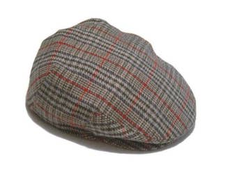 Vintage gray plaid newsboy cap wool cap   Cabbie hat golf hat