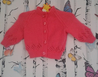 SALE Pink Cardigan, Baby Girl Cardigan, Knitted Cardigan, 0 - 3 Months, Handmade, Hand Knitted, Baby Shower Gift, Baby Girl