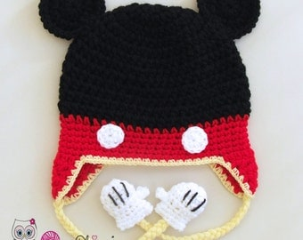 Crochet Mickey Mouse hat, Mickey Mouse beanie, boys hat , crochet toddler hat, Mickey hat with earflaps, crochet animal hat, Mickey Mouse