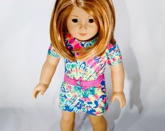 American made Girl Doll Clothes, 18 inch Doll Clothing, multi-colored tie-dye dress made to fit like American girl doll clothes