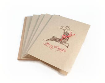 Christmas Cards, Merry And Bright, Deer Cards, Rustic Christmas Cards, Holiday Card Set, Xmas Cards, Blank Card Set, Gift Enclosures