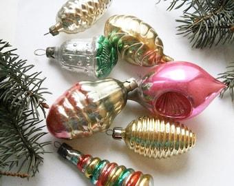 7 Vintage Christmas Decoration - Soviet Glass Ornaments - Christmas Tree Glass Ornaments,Antique Christmas ornament