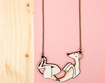 "Greyhound collar ""touching tummy above"", greyhound, whippet collar necklace, dog, Greyhound pendant, jewelry dog"