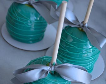 Half Dozen Small Teal Candy Apples