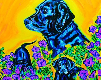 Mother's Day * Giclee print, black labrador, lilacs, impressionism, archival, matted print, puppies, wall art, colorful, dog lover